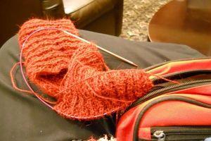 Red scarf alpaca