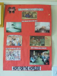 Posters in the AIDS nursing home where Elder Son volunteered.