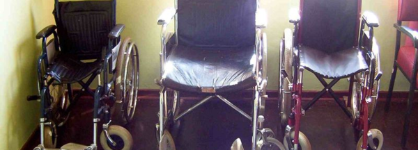 Wheelchairs lined up in the nursing home.