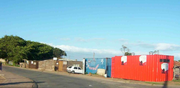 Shipping container homes outside Jeffreysbaai, a beach town beloved of surfers.