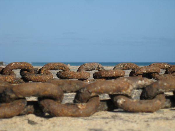 Chains on the beach