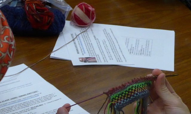 There was a demonstration of what we know as the linen stitch scarf.