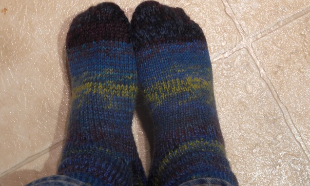 Double-thick socks (I've lost count).