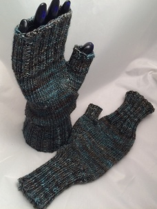 Fingerless gloves for Kay to match her hat.