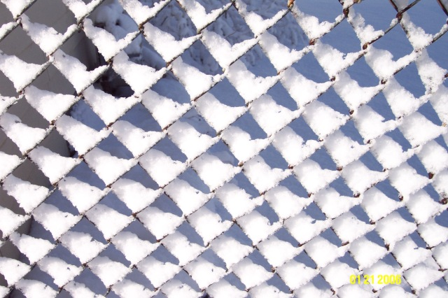 Chain link fence w snow