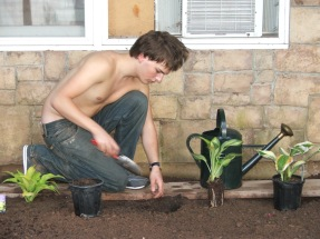 gardening for his mother.