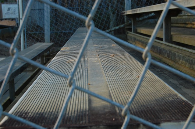 Chain link fence, bleachers.jpg
