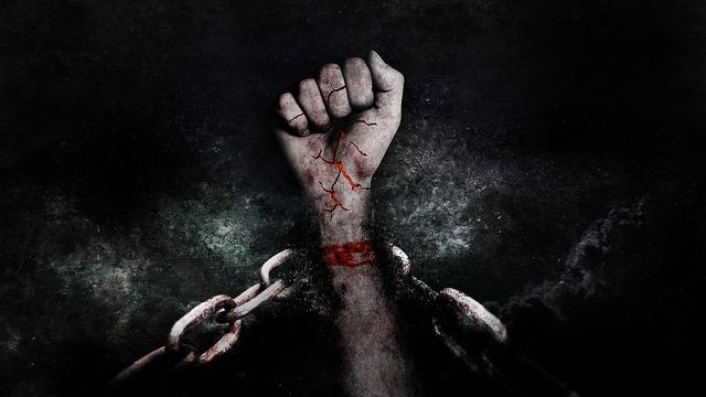 chain w bloody hand