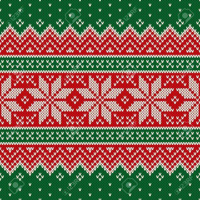 Traditional Christmas Knitting Wool Sweater Design. Wool Knit Te