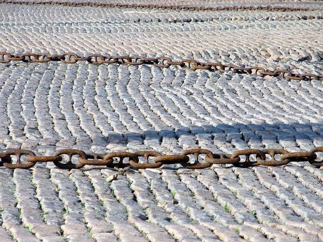 chain on cobblestones